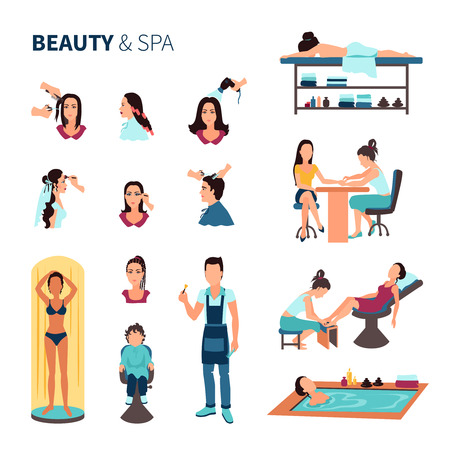 pedicure set: Flat beauty salon spa set with male and female people and various beauty procedures on white background vector illustration
