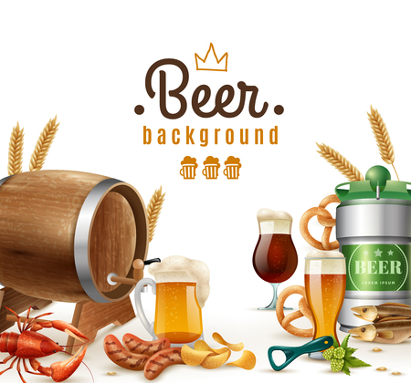 Realistic beer background with glasses barrel mug can crisps potato pretzel lobster wheat bottle opener vector illustration