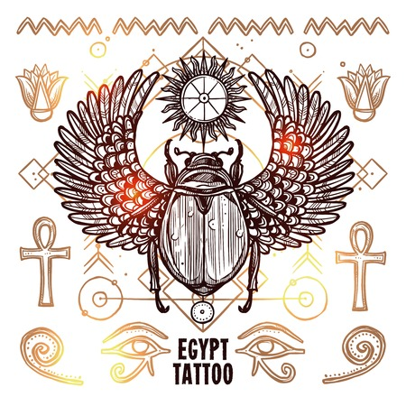 subculture: Occult Tattoo Sketch Poster. Beetle Hand Drawn Tattoo. Magic Modern Tattoo Vector Illustration. Ethnic Occult Tattoo Background. Egypt Occult Tattoo Design.