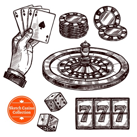 poker hand: Hand drawn sketch casino collection with roulette cards chips jackpot dice elements vector illustration Illustration