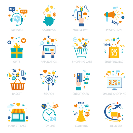 Online shopping icons set with different marketing financial technologic banking elements and devices isolated vector illustration Imagens - 66735067