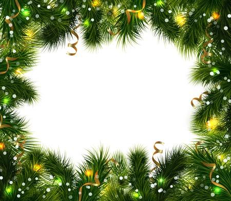 moños navideños: Fondo decorativo de Navidad con ramas de abeto verde colorido cintas festivas y bolas de ilustración vectorial