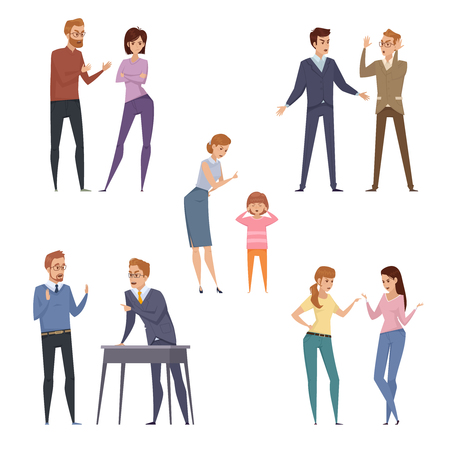 Quarrel icons collection with arguing people in different situations in flat style isolated vector illustration