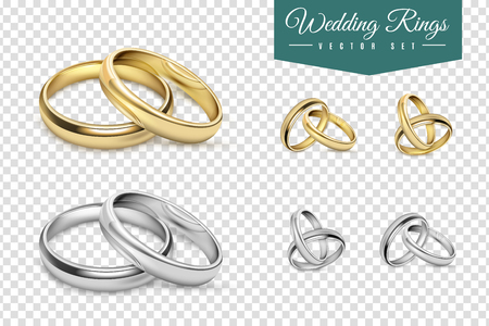 Wedding rings set of gold and silver metal on transparent background isolated vector illustration