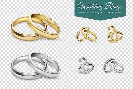 argollas matrimonio: Los anillos de boda conjunto de oro y plata del metal en el fondo aislado Ilustración del vector transparente Vectores