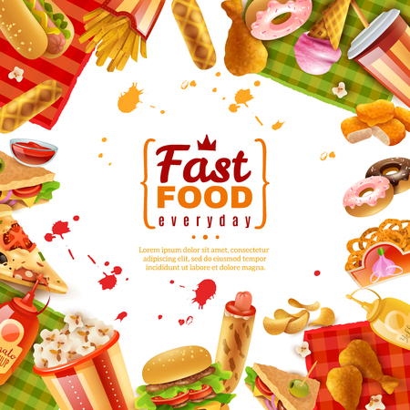 Fast food template with different colorful tasty unhealthy meals on white background vector illustration