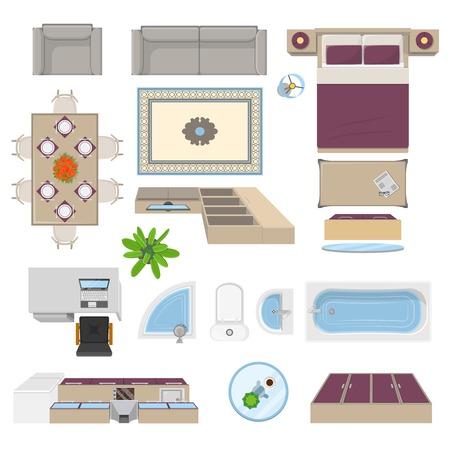 Los elementos interiores en vista frontal aislado con muebles de dormitorio salón cocina baño ilustración vectorial