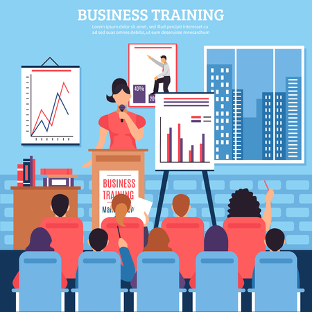 employee development: Business training template with lecturer audience at seminar on employee development in flat style vector illustration
