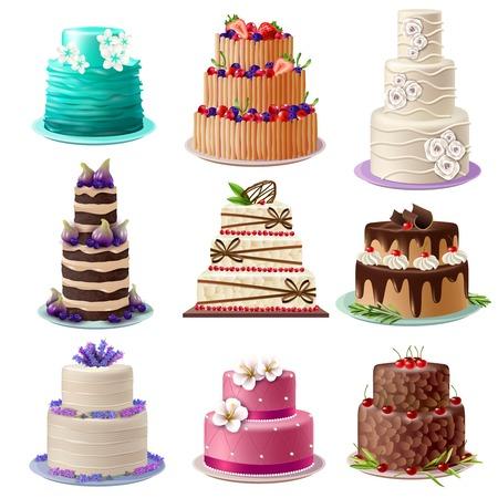 pastel de chocolate: pasteles dulces horneados establecidos con colores diferentes productos de confitería y postres decorados aislado ilustración del vector