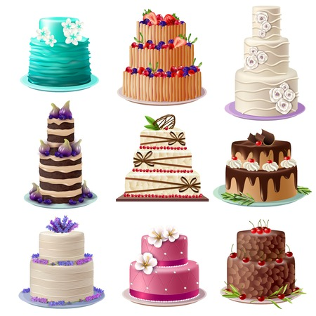 chocolate cake: Sweet baked cakes set with colorful different decorated confectioneries and desserts isolated vector illustration Illustration