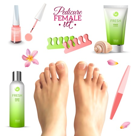 pedicure set: Tools for pedicure and care female feet seashell flower and petals set on white background realistic isolated vector illustration
