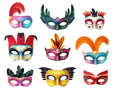 masquerade masks: Authentic handmade venetian painted carnival face masks collection for party decoration or masquerade realistic isolated vector illustration