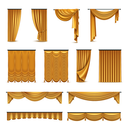 Golden silk velvet luxury curtains and draperies interior decoration design ideas realistic icons collection isolated vector illustration