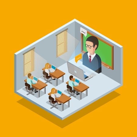 chat room: Online learning room concept with students and laptops on orange background isometric vector illustration