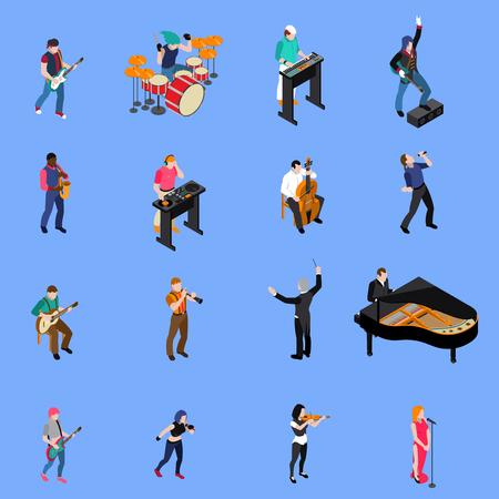 Músicos personas cantando y tocando diversos instrumentos musicales iconos isométrica de conjunto aislado sobre fondo azul ilustración vectorial