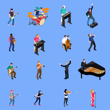 Musicians people singing and playing various musical instruments isometric icons set isolated on blue background vector illustration Ilustração
