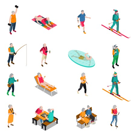 Male and female elderly people leading active life isometric icons set isolated on white background vector illustration