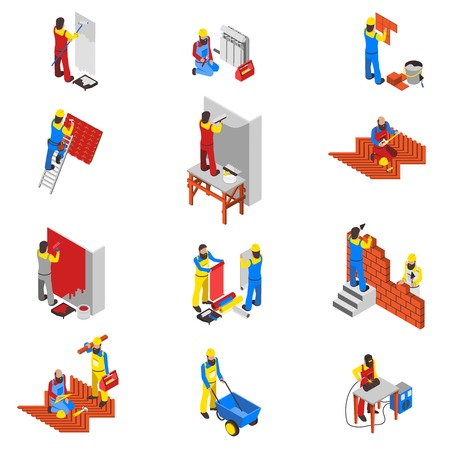 Builder people isometric icons set with equipment and tools isolated vector illustration