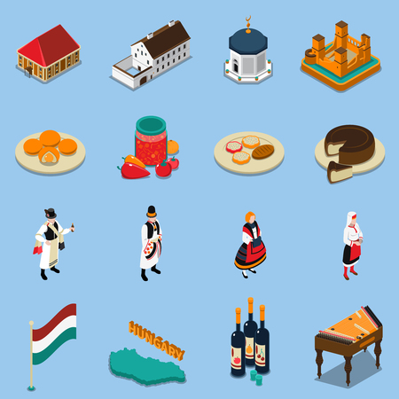 Hungary isometric touristic icons set with hungarian national costumes symbols architecture and cuisine isolated on blue background vector illustration