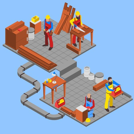 woodwork: Woodwork people isometric composition with tools on blue background vector illustration