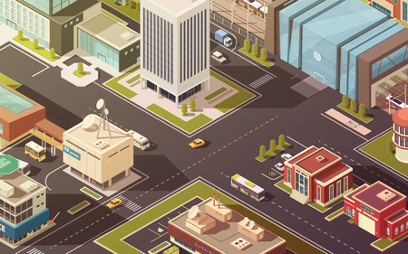 establishment states: Government buildings city streets roads and traffic isometric vector illustration
