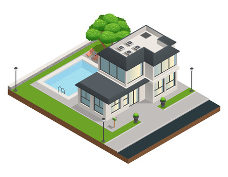 Isometrischen Zusammensetzung mit modernen S zwei stöckige Wohnhaus und sauber Hof mit Schwimmbad Vektor-Illustration Standard-Bild - 66734490