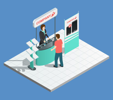 Exhibition promotion composition with isometric stand and female promoter vector illustration