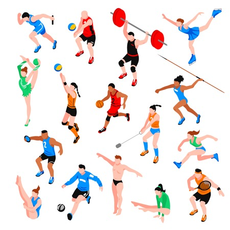 Sport isometric set with sportsmen of ball  games throwing competition athletics isolated vector illustration 向量圖像