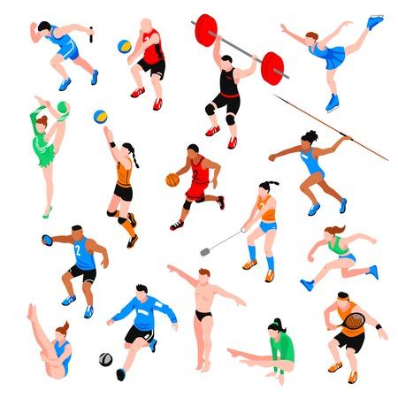 Sport isometrische set met sporters van balspelen gooien concurrentie atletiek geïsoleerde vector illustratie