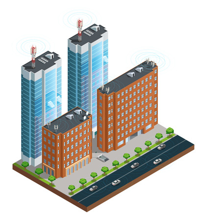 antenna: Isometric composition of town street with devices in houses tower and cars connected by wireless network vector illustration Illustration