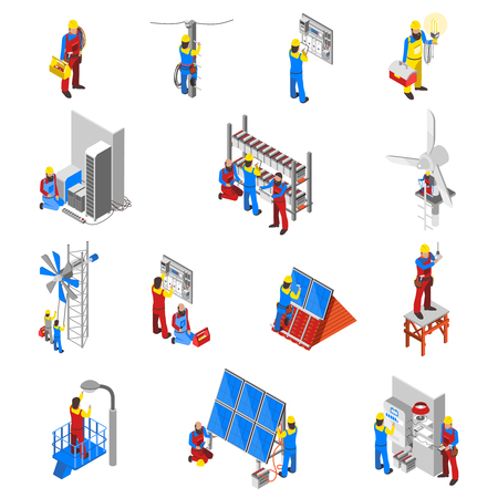 Electrician icons set with tools and equipment isometric isolated vector illustration Stock Illustratie