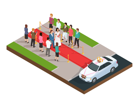 Wedding ceremony isometric composition with just married couple on the red carpet vector illustration Illustration