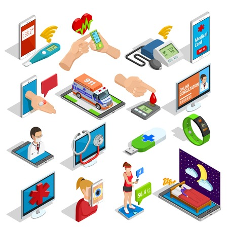 procedures: Digital medicine isometric icons set of devices gadgets procedures and tools of health control isolated vector illustration