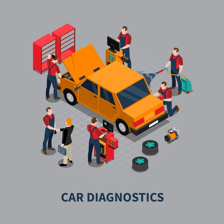 car care center: Auto service car diagnostics and repair center mechanics testing vehicle isometric composition gray background poster vector illustration