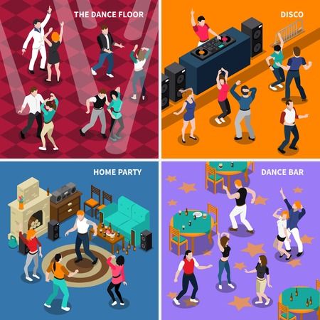 Dancing people movements 4 isometric icons composition with disco bar floor and home party isolated vector illustration Illustration