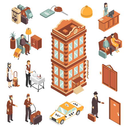 hotel hall: Hotel isometric icons set with modern multistory hotel building yellow taxi car reception bellman maid and visitors persons vector illustration