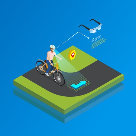 interacting: Augmented reality navigation system isometric poster with cyclist interacting with smart glasses computing landscape vision vector illustration