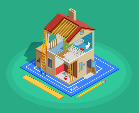 Home repair isometric template with building and different maintenance works on green background isolated vector illustration
