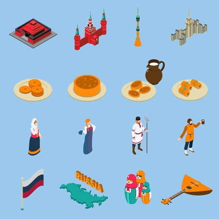 Russia isometric touristic icons set of famous buildings traditional russian cuisine national constumes and symbols isolated vector illustration Illustration