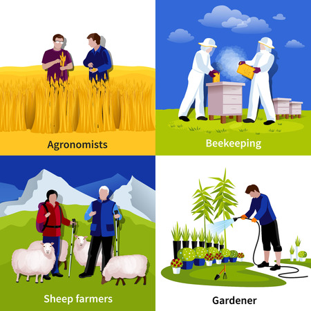 Gardener beekeepers sheep herders and crop crowing farmers at work 4 flat icons square composition isolated vector illustration