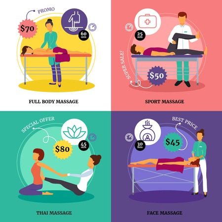 body massage: Massage and health concept icons set with full body and sport massage symbols flat isolated vector illustration Illustration