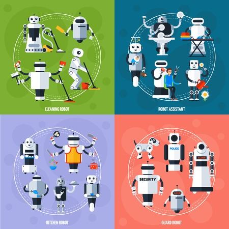 Smart robots concept with cyborgs involving in various sphere of life in flat style vector illustration Illustration