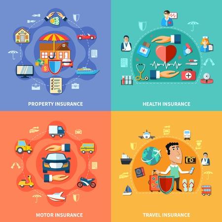 Bunte Versicherung flachen Konzept mit medizinischen Transport Reise und Eigentum Schutz Vektor-Illustration Vektorgrafik
