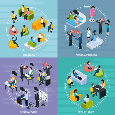 stressful: Depression isometric concept with stressful emotional situations and treatment of illness isolated vector illustration Illustration