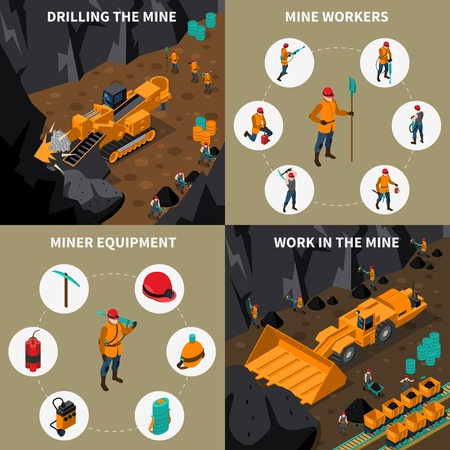 Miner equipment machinery and people workinf in mine 2x2 isometric icons set isolated vector illustration