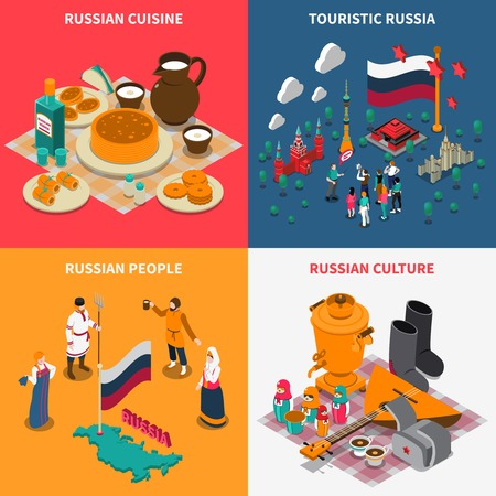 valenki: Russian culture isometric touristic 2x2 icons set with national symbols costumes and cuisine isolated on colorful background vector illustration