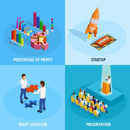 goal achievement: Business goal achievement isometric concept with different means and procedures for project implementation isolated vector illustration Illustration
