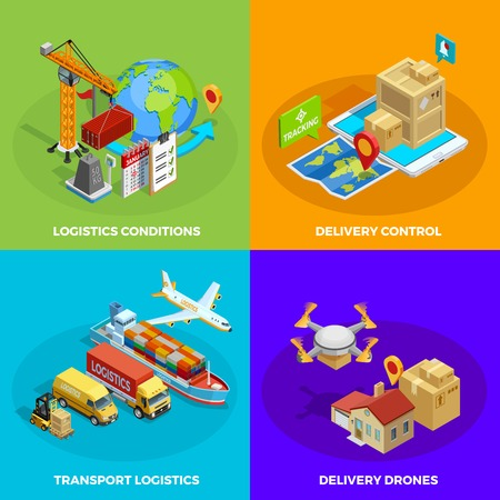 means of transportation: Logistic isometric concept with different stages and means of delivery and transportation processes isolated vector illustration