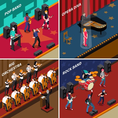 Musicans people performing at stage isometric 2x2 icons set isolated vector illustration
