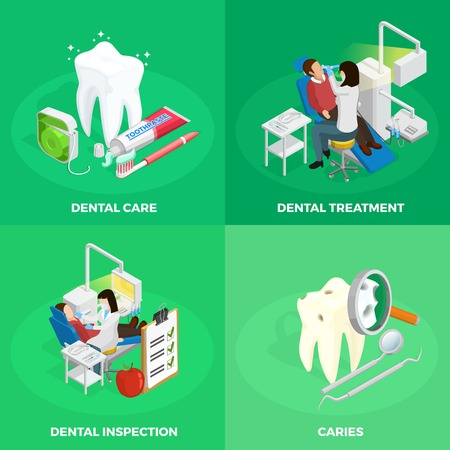vetor: Stomatology isometric concept with dentist healthy and ill tooth medical checkup instruments on green background isolated vetor illustration Illustration